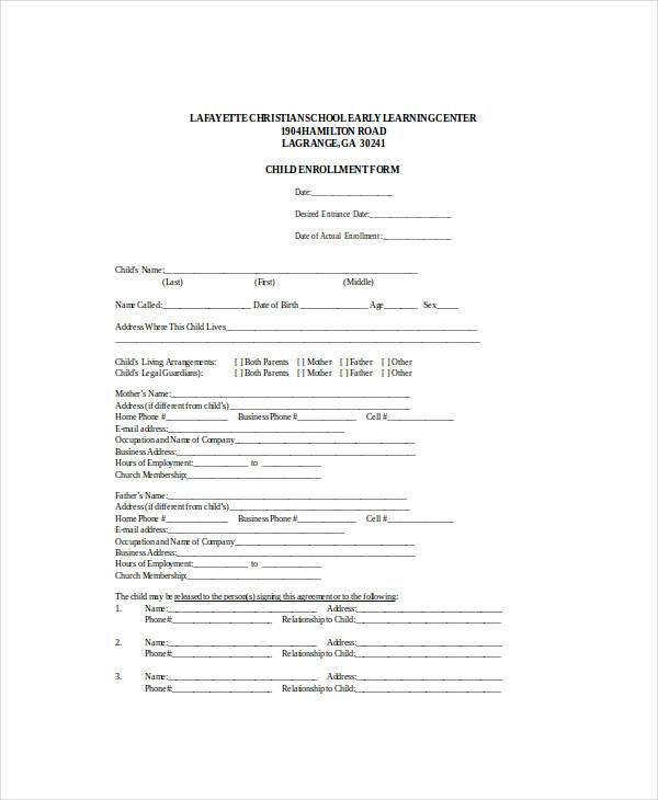 child reduced fee enrollment application form