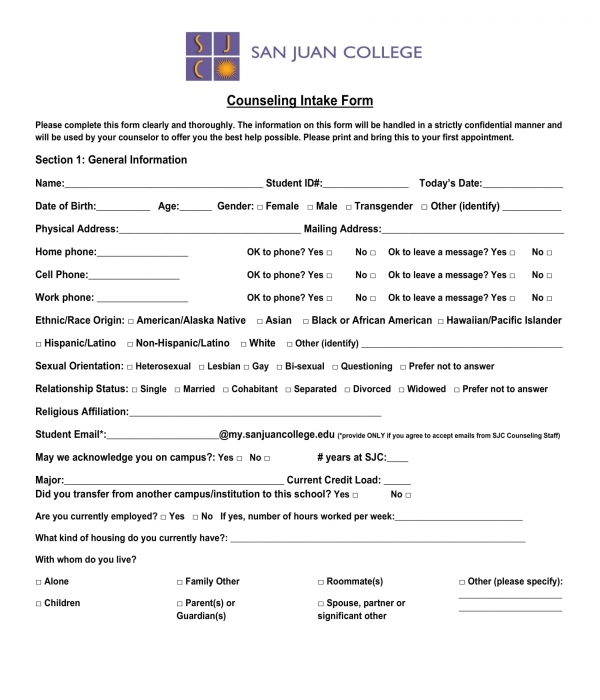 college counseling intake form