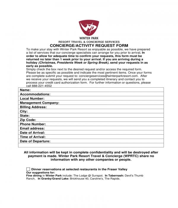 concierge activity request form