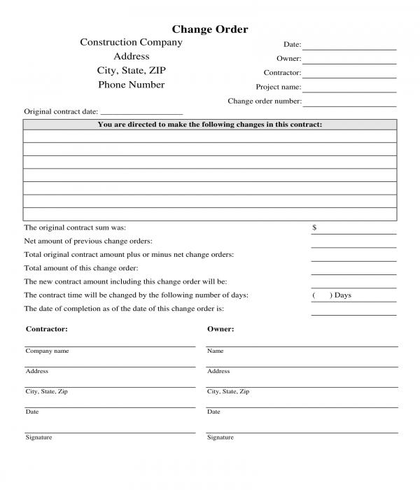 construction change order form sample
