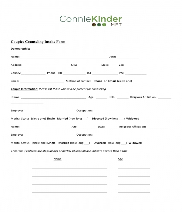 couples counseling intake form