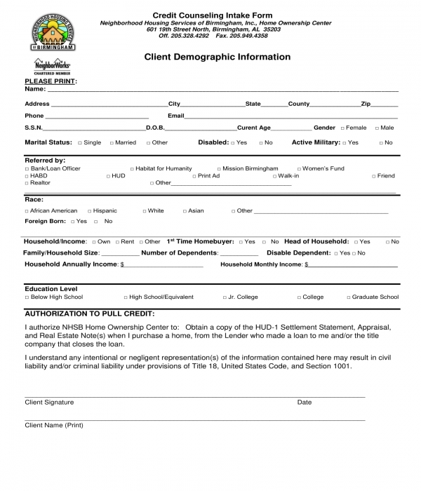 credit counseling intake form