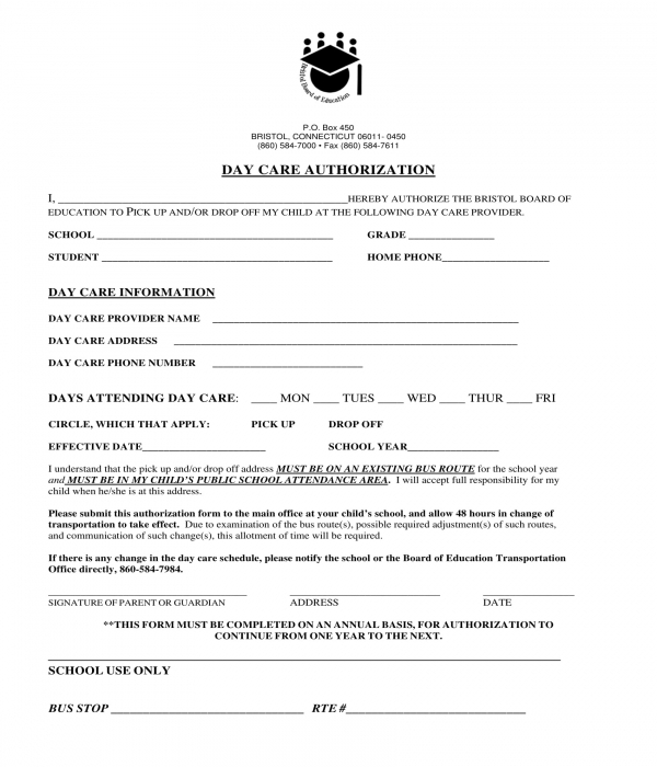 daycare authorization form sample