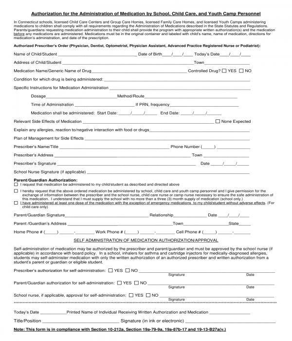 daycare medication authorization form