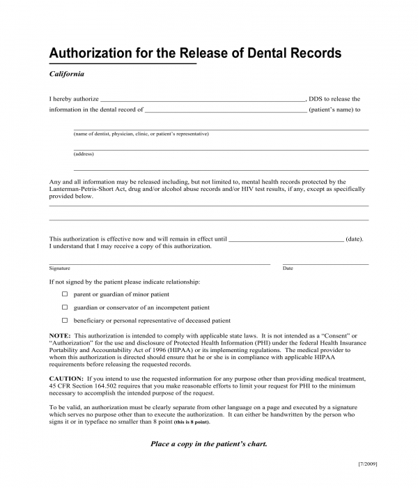 dental records release authorization form