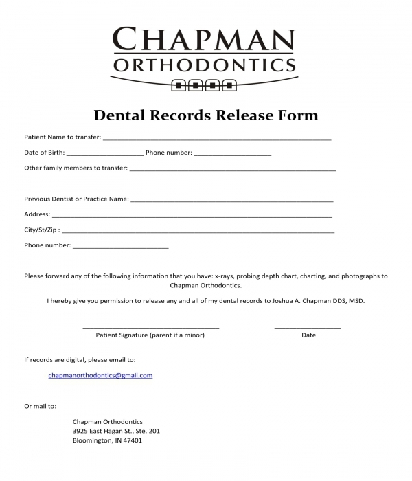 exceptionnel Dental Records Release Form Sample