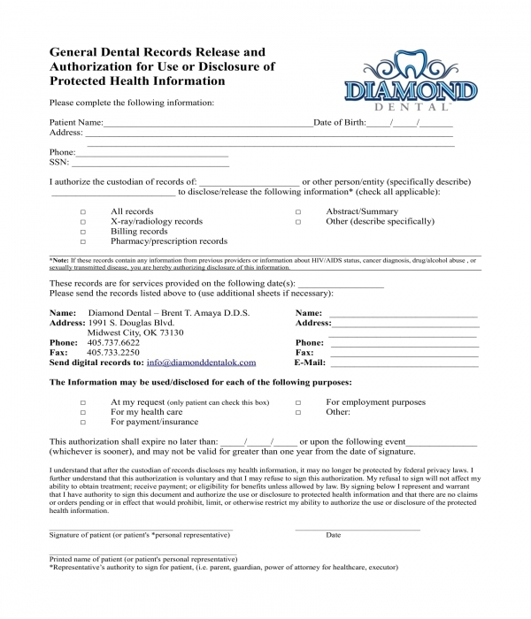 dental records release information disclosure form