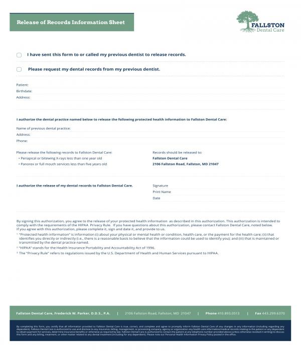 dental records release information sheet form