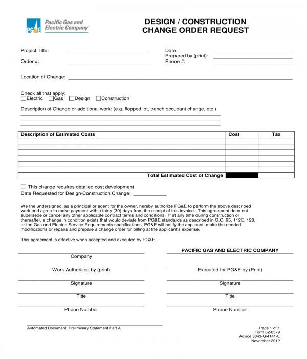 design construction change order request form