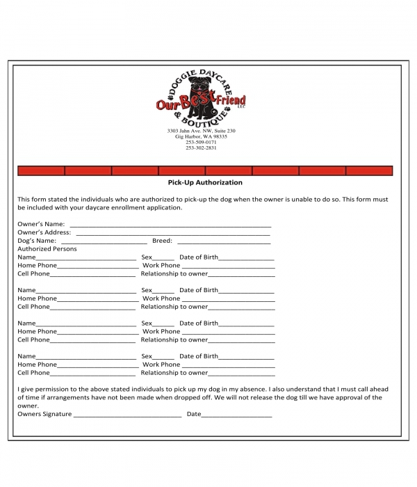 doggie daycare pick up authorization form