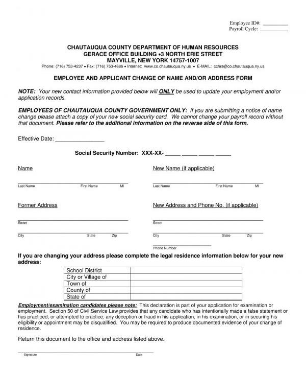 employee applicant change of name and address form