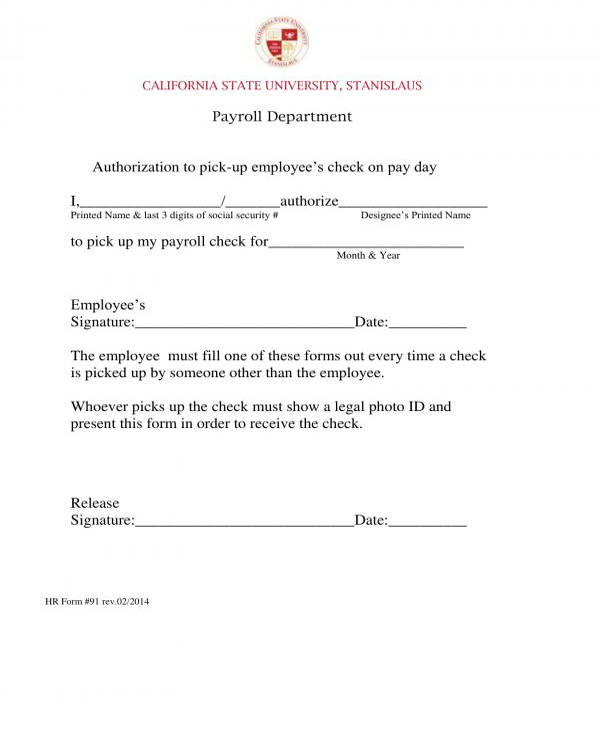 employee check pay day pick up authorization form