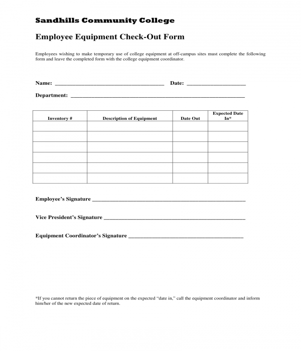 employee equipment checkout form