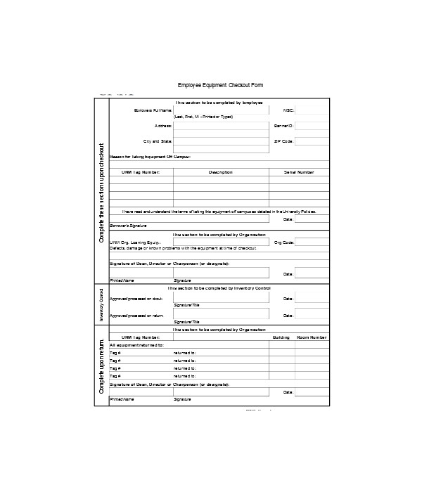 employee equipment checkout form1
