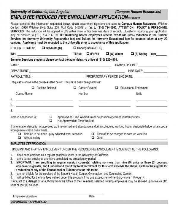 employee reduced fee enrollment application form