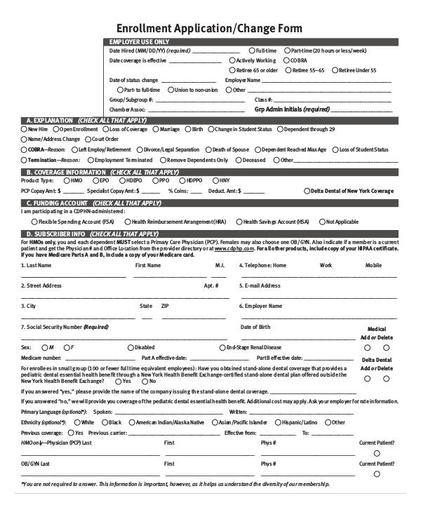 enrollment application change form