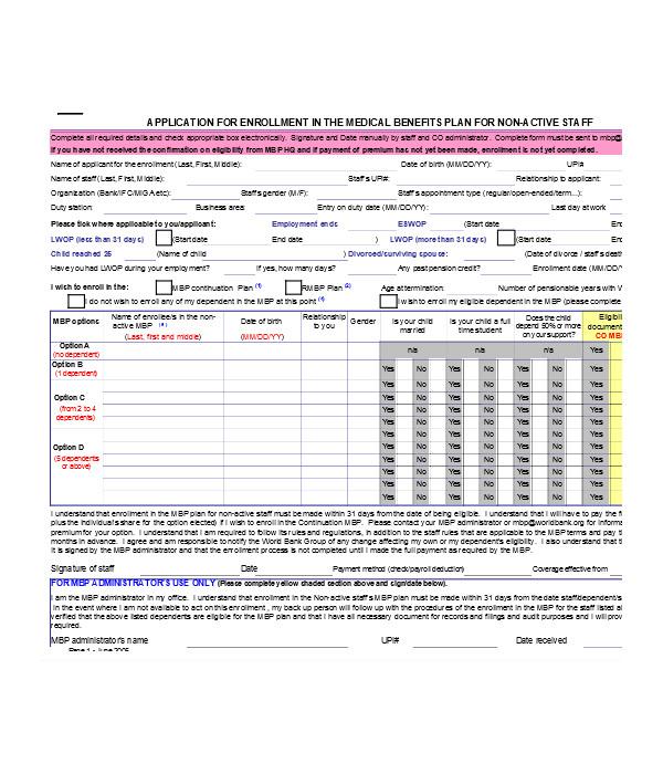 enrollment application form