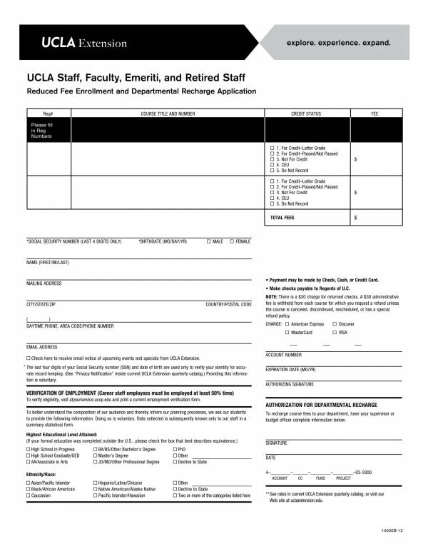 enrollment departmental recharge application form