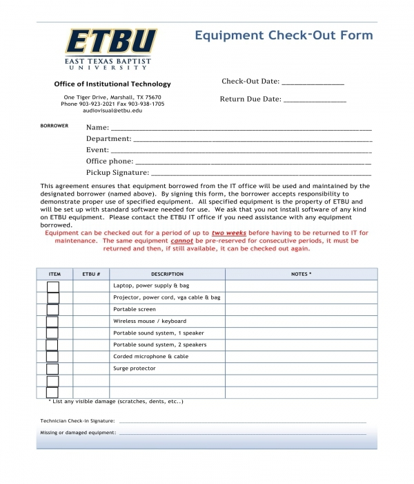 equipment checkout form