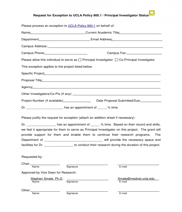 exception request form