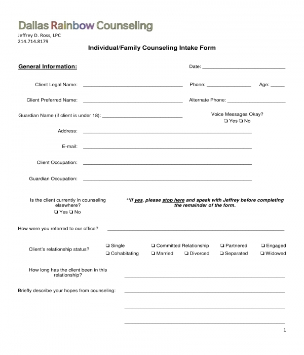 family counseling intake form