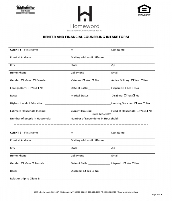 financial counseling intake form