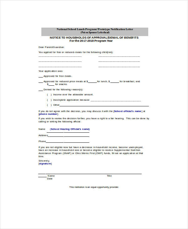 free and reduced price school meals application form