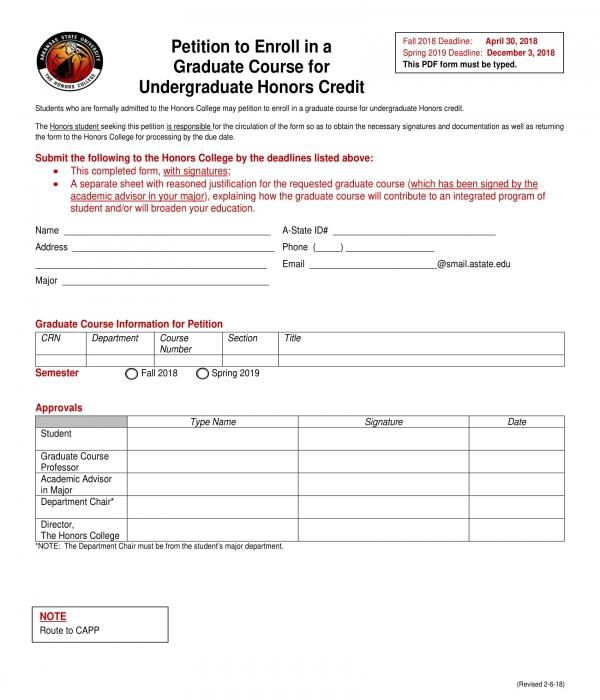 graduate honors credit enrollment petition form