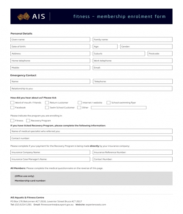 gym membership enrollment form