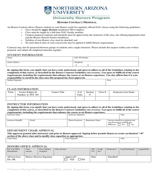 honors contract proposal form