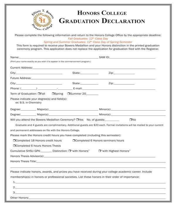 honors graduation declaration form