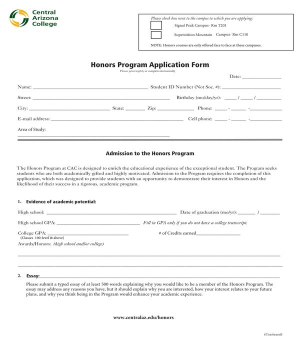 honors program application form