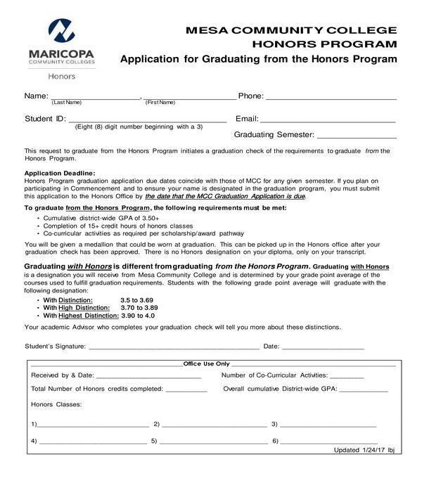 honors program graduation application form