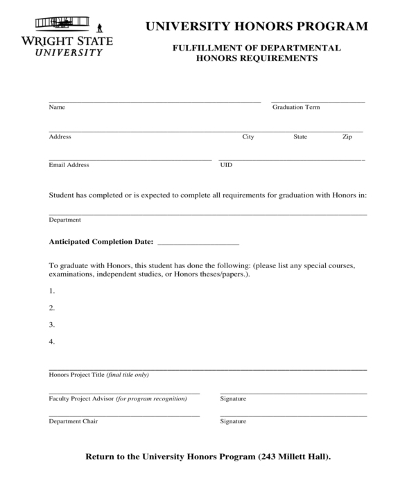 honors requirement form