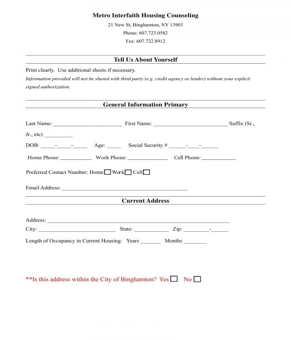 housing counseling intake form