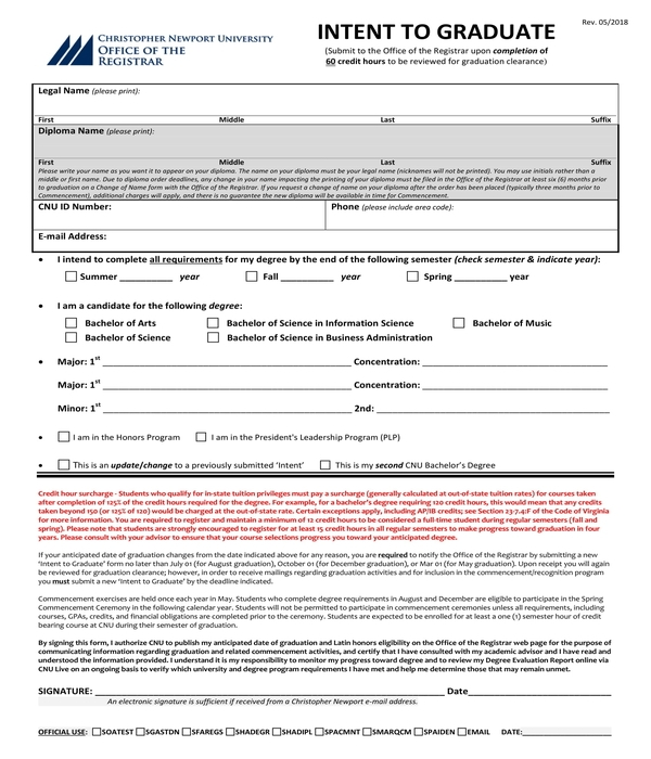 intent to graduate form