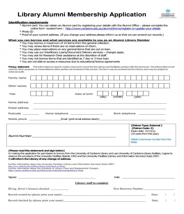 library alumni membership application form