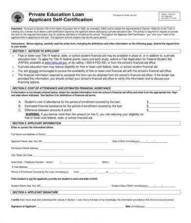 loan applicant self certification form1