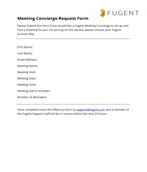 meeting concierge request form