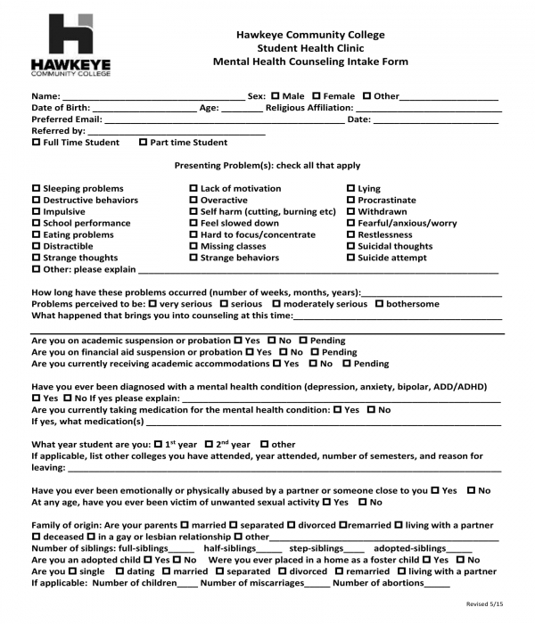 mental health counseling intake form