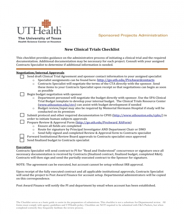new clinical trials checklist form