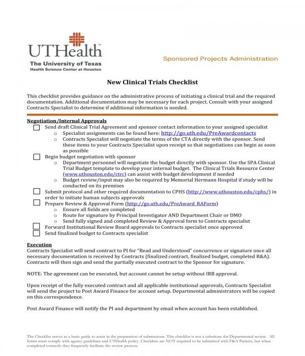 new clinical trials checklist form