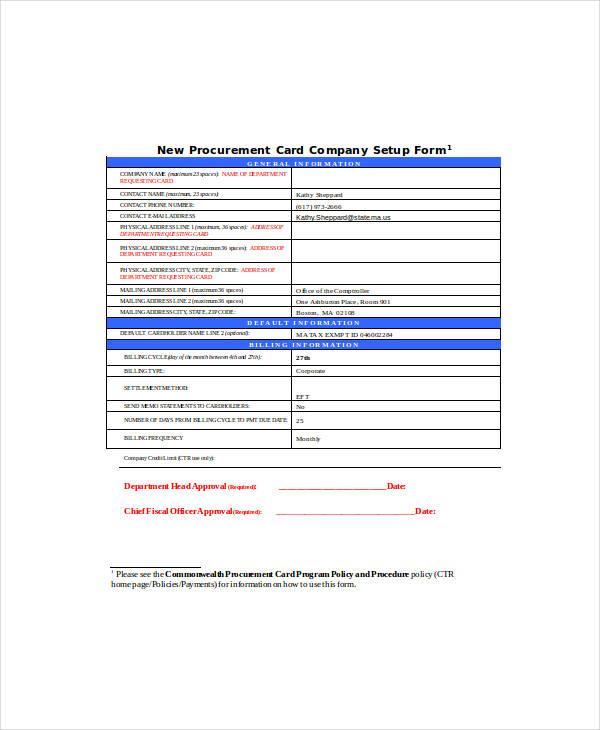 new procurement card company setup form