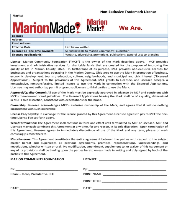 non exclusive trademark license agreement short form
