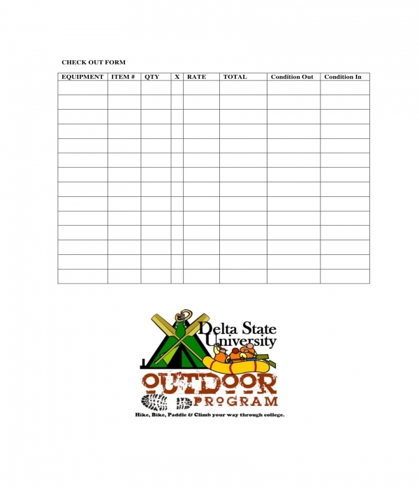 outdoor equipment rental checkout form