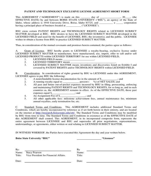patent license agreement short form sample