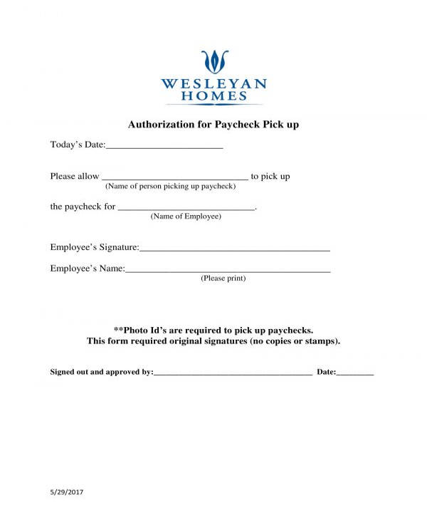 paycheck pick up authorization form
