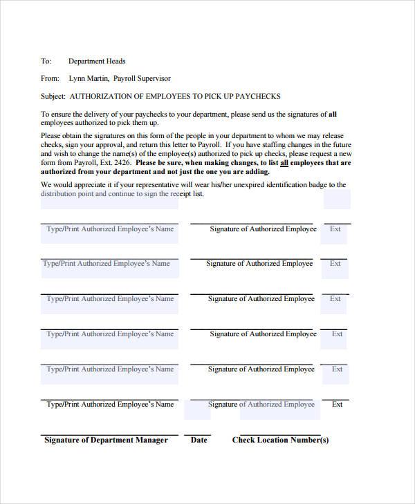 payroll check pick up authorization