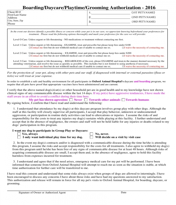 pet daycare grooming authorization form