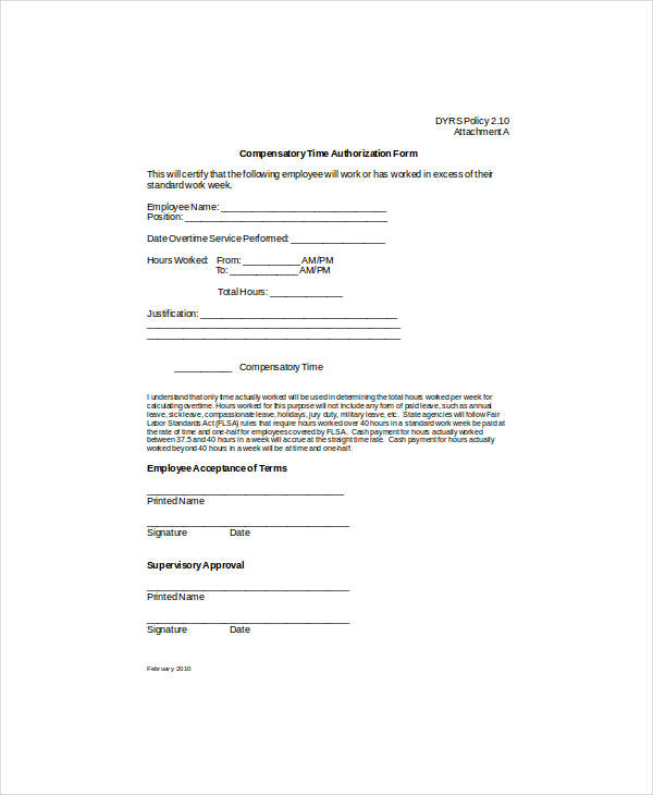 printable compensatory time authorization form